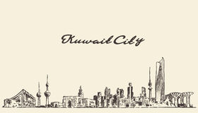 Kuwait skyline vector vintage illustration drawn Royalty Free Stock Image