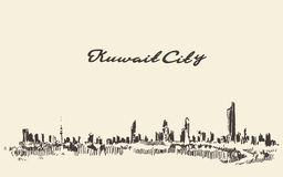 Kuwait skyline vector vintage illustration drawn Stock Photography