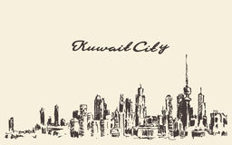 Kuwait skyline vector vintage illustration drawn Stock Images