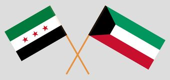 Kuwait and Syria opposition. Kuwaiti and Syrian National Coalition flags. Official colors. Correct proportion. Vector. Illustration royalty free illustration