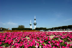 Kuwait tower. Kuwiat tower in spring season with flowers Royalty Free Stock Image