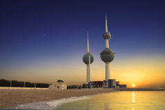 Kuwait tower. Beautiful kuwait tower during sunset royalty free stock photos