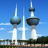 Kuwait Tower. Kuwait Water Towers , located near the waterfront in Kuwait City. AI Illustrator file available. Separate Layers Stock Image