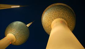 Kuwait Towers. The frst of the biggest towers builed in Kuwait (1970s Royalty Free Stock Photos