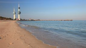 Kuwait Towers. Arabian Gulf beach and the Kuwait Towers. The Towers were build in 1979 and are a symbol of modern Kuwait stock video footage