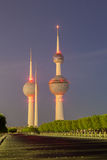Kuwait Towers at dusk. Royalty Free Stock Photo