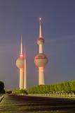 Kuwait Towers at dusk. Royalty Free Stock Photo