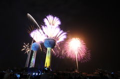 Kuwait Towers Fire work Stock Photos