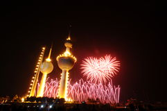 Kuwait Towers Fire work. Kuwait Towers in Fire Work in Kuwait independent day Feb-25-2011 Stock Image