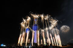 Kuwait Towers Fire work. Kuwait Towers in Fire Work in Kuwait independent day Feb-25-2011 Royalty Free Stock Images
