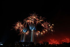 Kuwait Towers Fire work Royalty Free Stock Photos