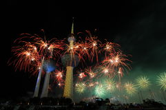 Kuwait Towers Fire work. Kuwait Towers in Fire Work in Kuwait independent day Feb-25-2011 Stock Photography