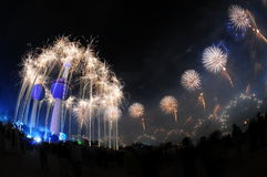 Kuwait Towers Fire work Stock Photography