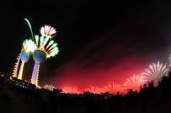 Kuwait Towers Fire work. Kuwait Towers in Fire Work in Kuwait independent day Feb-25-2011 Stock Images