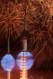 Kuwait Towers fireworks. In independence day Royalty Free Stock Photo