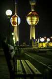 Kuwait Towers at night Royalty Free Stock Photo