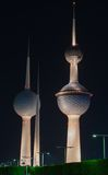 Kuwait Towers. At night, these three tower are build from the 1970s, the tallest one has a restaurant in the first ball and a coffee shop and a view area at the royalty free stock photo