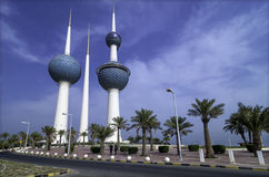 Kuwait Towers. Two kuwait towers 100 m away wide angle royalty free stock images