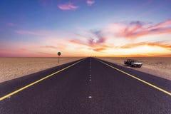 Kuwait-Wüste rooad Stockbilder
