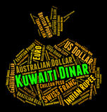 Kuwaiti Dinar Indicates Foreign Currency And Coinage. Kuwaiti Dinar Representing Foreign Exchange And Wordcloud Royalty Free Stock Photos