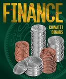 Kuwaiti Dinars Coins Stacks Cover Poster Design Royalty Free Stock Photography