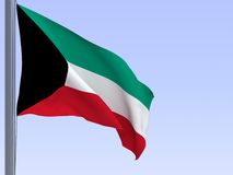 Kuwaiti flag. 3d rendered flag in wind, series Royalty Free Stock Photos