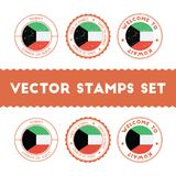 Kuwaiti flag rubber stamps set. National flags grunge stamps. Country round badges collection Royalty Free Stock Photo