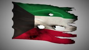 Kuwaiti perforated, burned, grunge waving flag loop alpha stock video footage