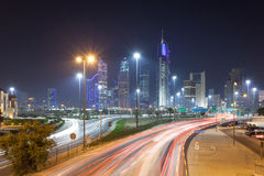 Kuwejt śródmieście przy nocą Obrazy Stock