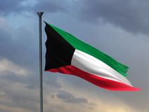 Kuwejt 3D flagi 3D rendering ilustracji