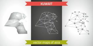 Kuwejt kolekcja wektorowego projekta map, szarej, czarnej i srebnej kropka konturu mozaiki 3d mapa nowożytna, Zdjęcie Royalty Free