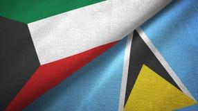 Kuwejt Lucia i święty dwa flagi tekstylny płótno, tkaniny tekstura ilustracja wektor