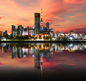Kuwejt miasta światło podczas zmierzchu Obrazy Royalty Free
