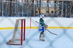 Kuzmolovo,俄罗斯, 2018年2月03日:青年冰球比赛水族 免版税图库摄影