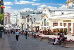 Kuznetsky most. MOSCOW - JULY 20: People walking down the Kuznetsky most street on July 20, 2014 in Moscow. The name, literally Blacksmith's Bridge, refers to Royalty Free Stock Photography