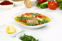 Turkish bony lamb soup with carrot. Kuzu Haslama - Lamb leg soup with carrot - Turkish Soups. Cooking beef broth with onions and carrots stock images
