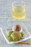 Kuzu starch cake. Japanese sweet on the glass plate Royalty Free Stock Photos