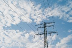 110 kV High Voltage Pylon with Two Ground Wires stock photo