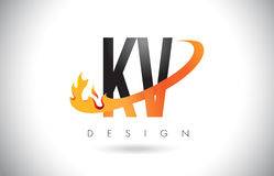 KV K V Letter Logo with Fire Flames Design and Orange Swoosh. Stock Photography