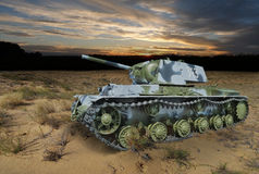 KV-1 (Klim Voroshilov) Soviet heavy tank in the night landscape Stock Photography