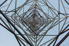 The 750 kV line support is a power distribution and transmission. Unit to the consumer royalty free stock photos