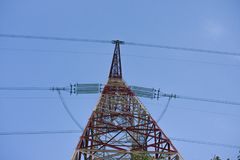 The 750 kV line support is a power distribution and transmission. Unit to the consumer royalty free stock images