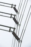 115 kv,Line and Suspension Insulator three phase Stock Photo