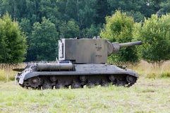 Kv-2 tank on the field Royalty Free Stock Photo