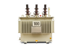 100 kVA Oil immersed transformer. Three phase (100 kVA) corrugated fin hermetically sealed type oil immersed transformer, isolated on white background with Stock Image
