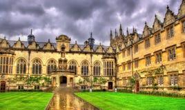 Kvadrat av den Oriel högskolan i Oxford royaltyfri foto