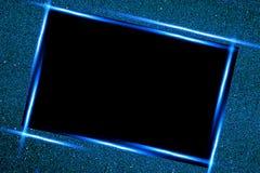 Kvadrera ramen och blänka Svart bakgrund Glödande blåa partiklar texturerar omkring Garnering med den tomma mitten f?r text royaltyfri illustrationer