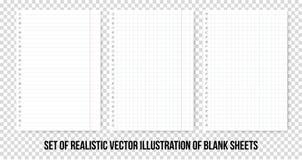 Kvadrerade och fodrade pappers- ark av anteckningsboken eller förskriftsboken Realistiskt pappers- ark för vektor av linjer och u stock illustrationer