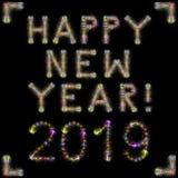 Kvadrerar färgrika mousserande fyrverkerier för lyckligt nytt år 2019 svart sk royaltyfria foton