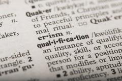 Kvalifikation i en ordbok stock illustrationer